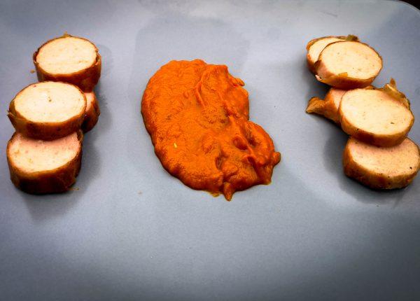Currywurst mit Mango-Curry-Sauce