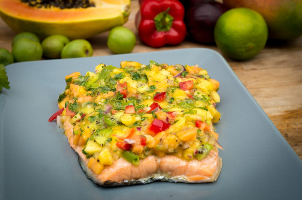 Lachs mit Frucht Topping