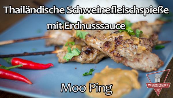 Moo Ping Gegrillte Thailändisch Schweinefleisch Spieße mit Erdnusssauce