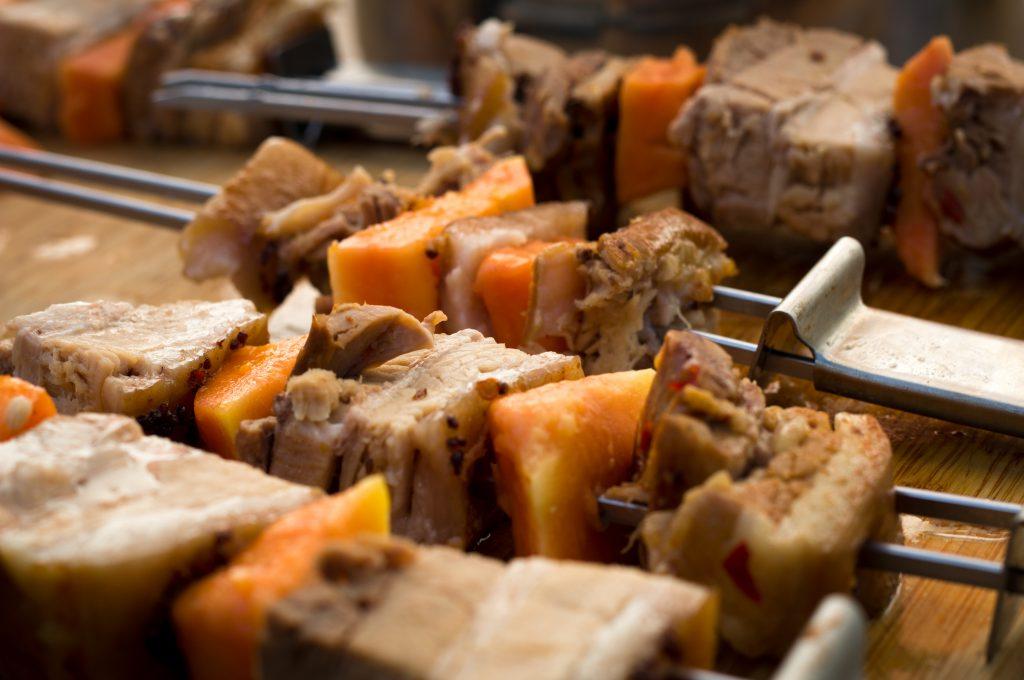 Papaya pork belly  Skewers