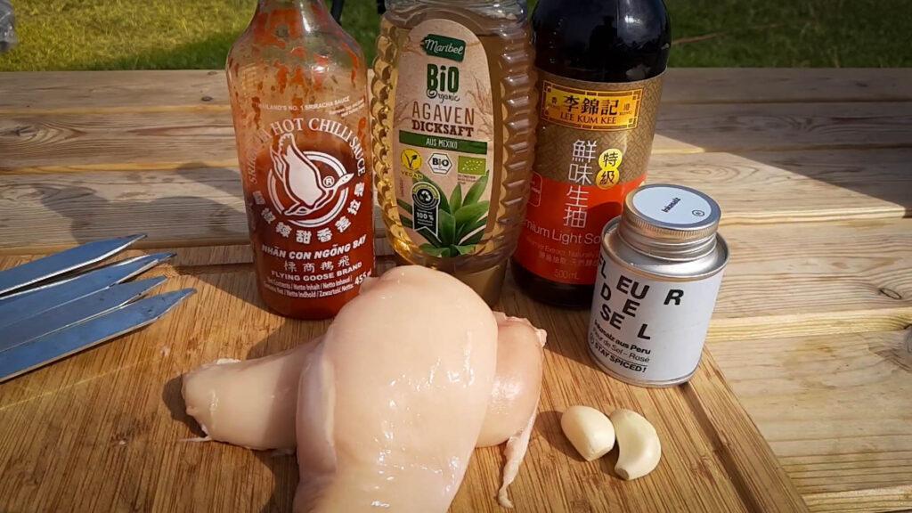 Zutaten für Sriracha Honig Hähnchen